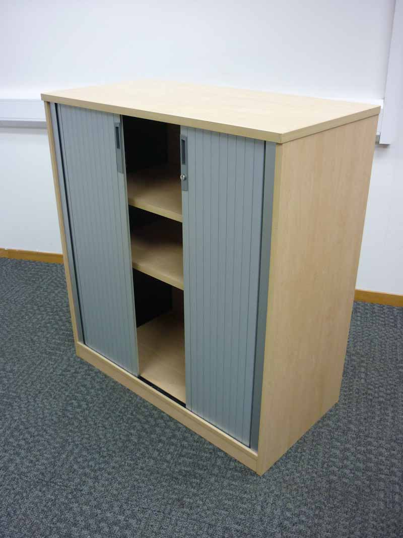 1100mm high Tangent Qore maple tambour cupboard