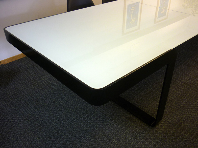 4500 x 1180mm glass top bespoke boardroom table & credenza