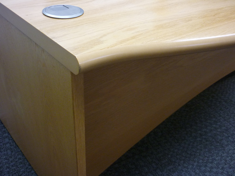 2000w x 1200d mm Oak Fulcrum Executive desk by Sven