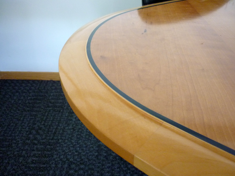 4300 x 1500mm cherry veneer elliptical boardroom table