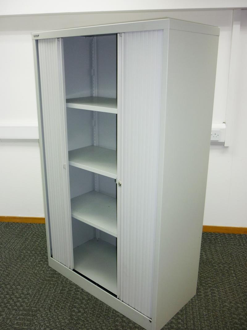 1650mm high grey Bisley tambour cupboard