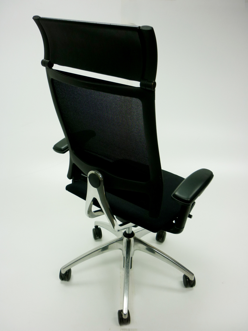 Black fabric mesh back Sedus Open Up task chair (CE)