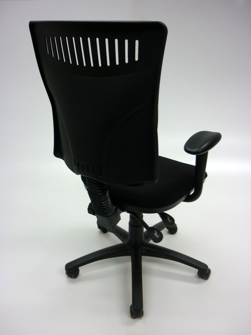 Black 2 lever styled operator chairs with arms