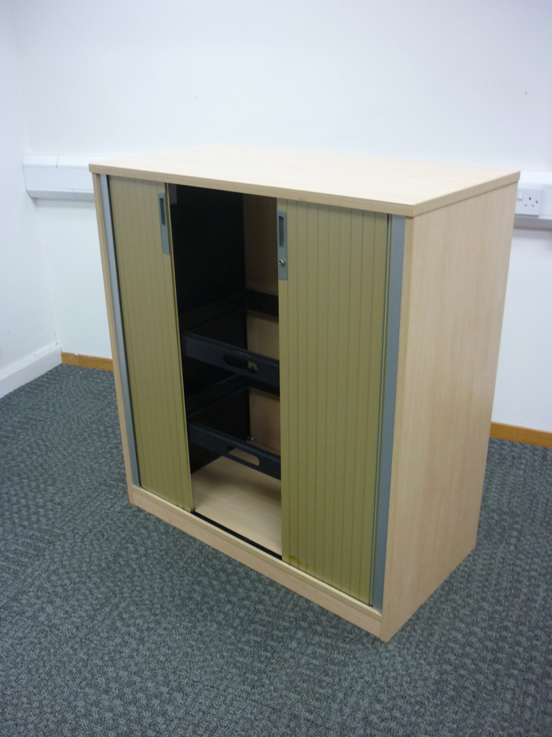 1100mm high Ofquest maple tambour cupboard