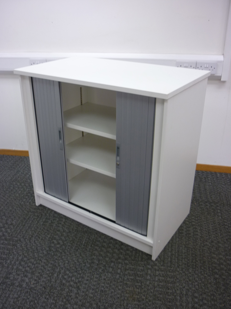 1000mm high white tambour cupboards