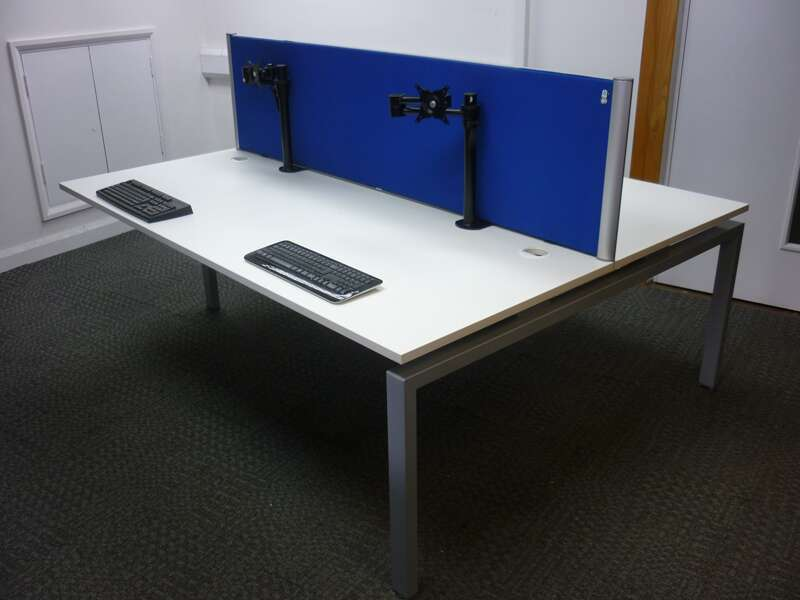 Large white bench desking.  Block 4000x1600mm -