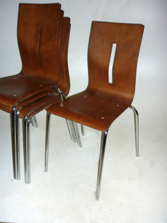 Allermuir Scoop walnut stacking chairs