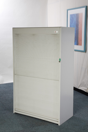 1600mm high Flexiform grey tambour cupboard