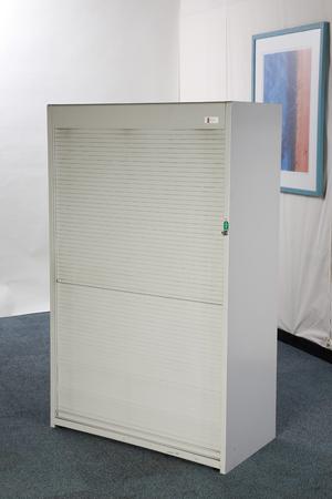 1600mm high Flexiform grey tambour cupboard