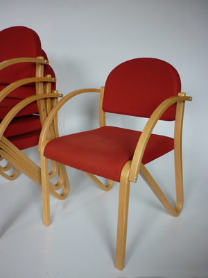 Red pattern stacking beech frame meeting chairs