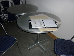 900mm diameter silver Morris canteen tables