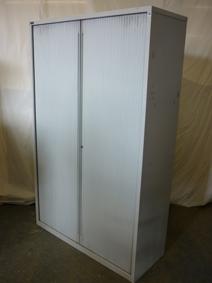 Triumph 1920mm high, 1200mm wide grey tambour cupboards