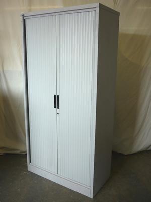 Silverline 2000mm high grey tambour cupboard