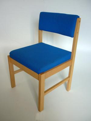 Blue wooden frame meeting chair