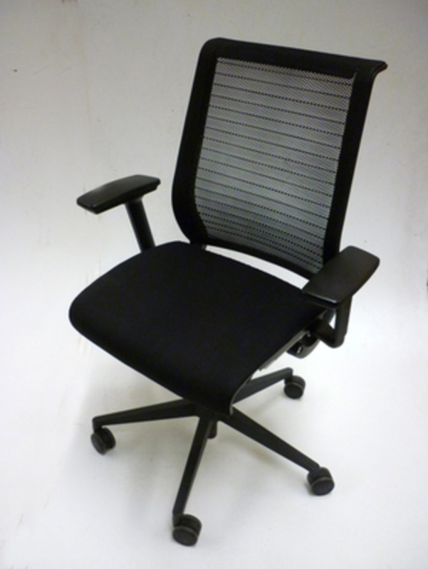 Steelcase Think black fabric mesh back task chairs