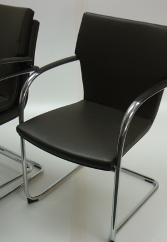 Brunner dark brown leather stacking chairs  (CE)