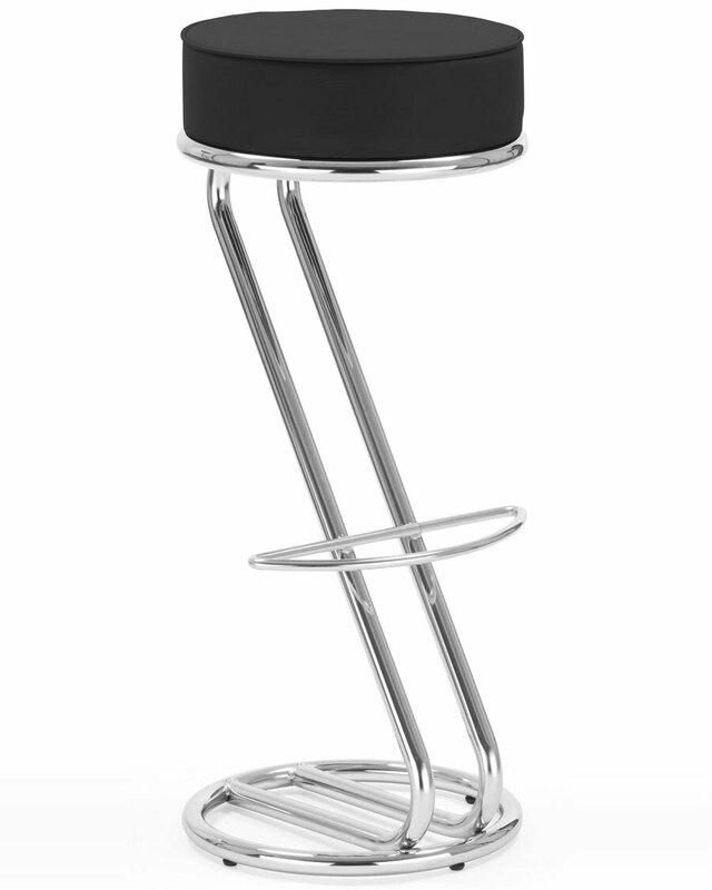 Nowy Styl Zeta black and chrome stool