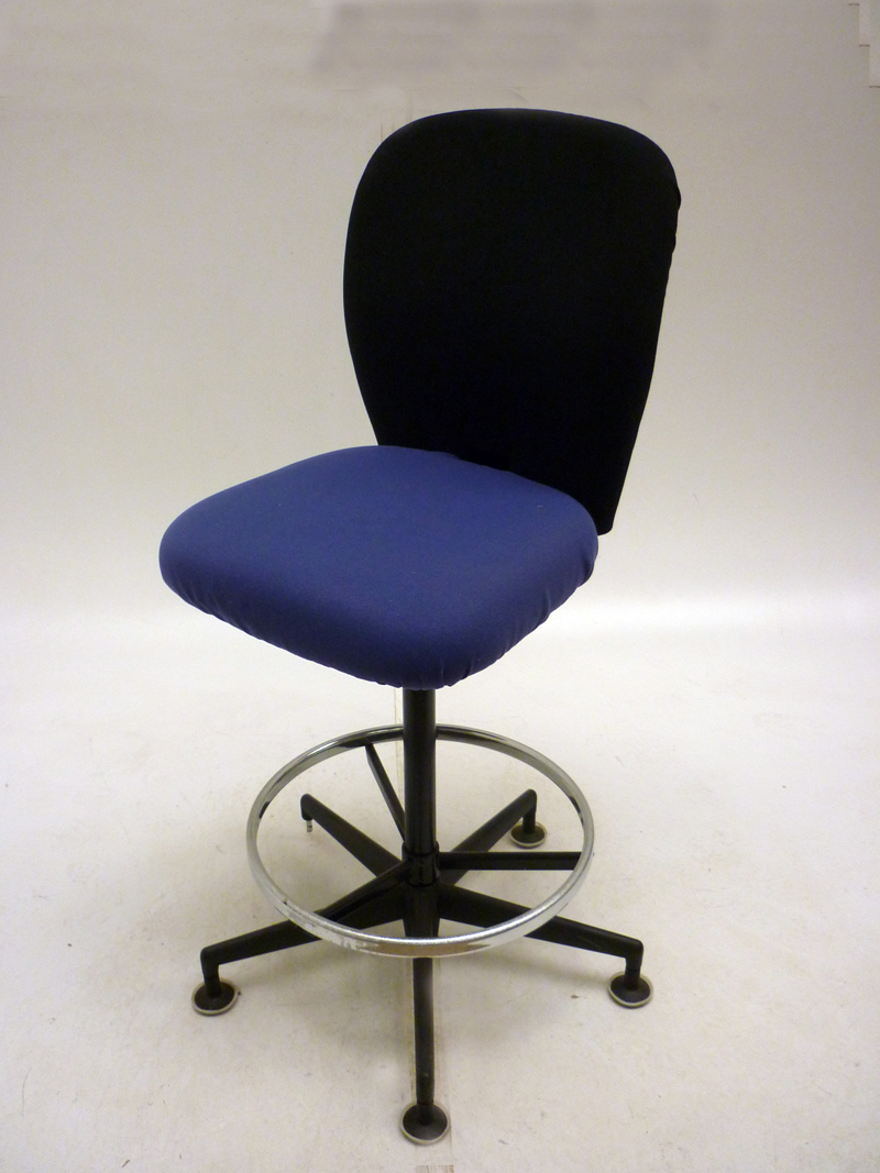 Vitra Draughtsman Bench Round Back Blue Black Chair Used