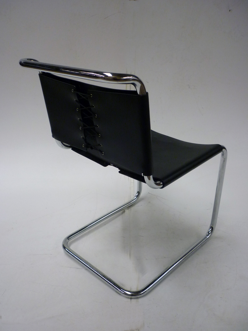 Knoll Spoleto black leather chairs (CE)