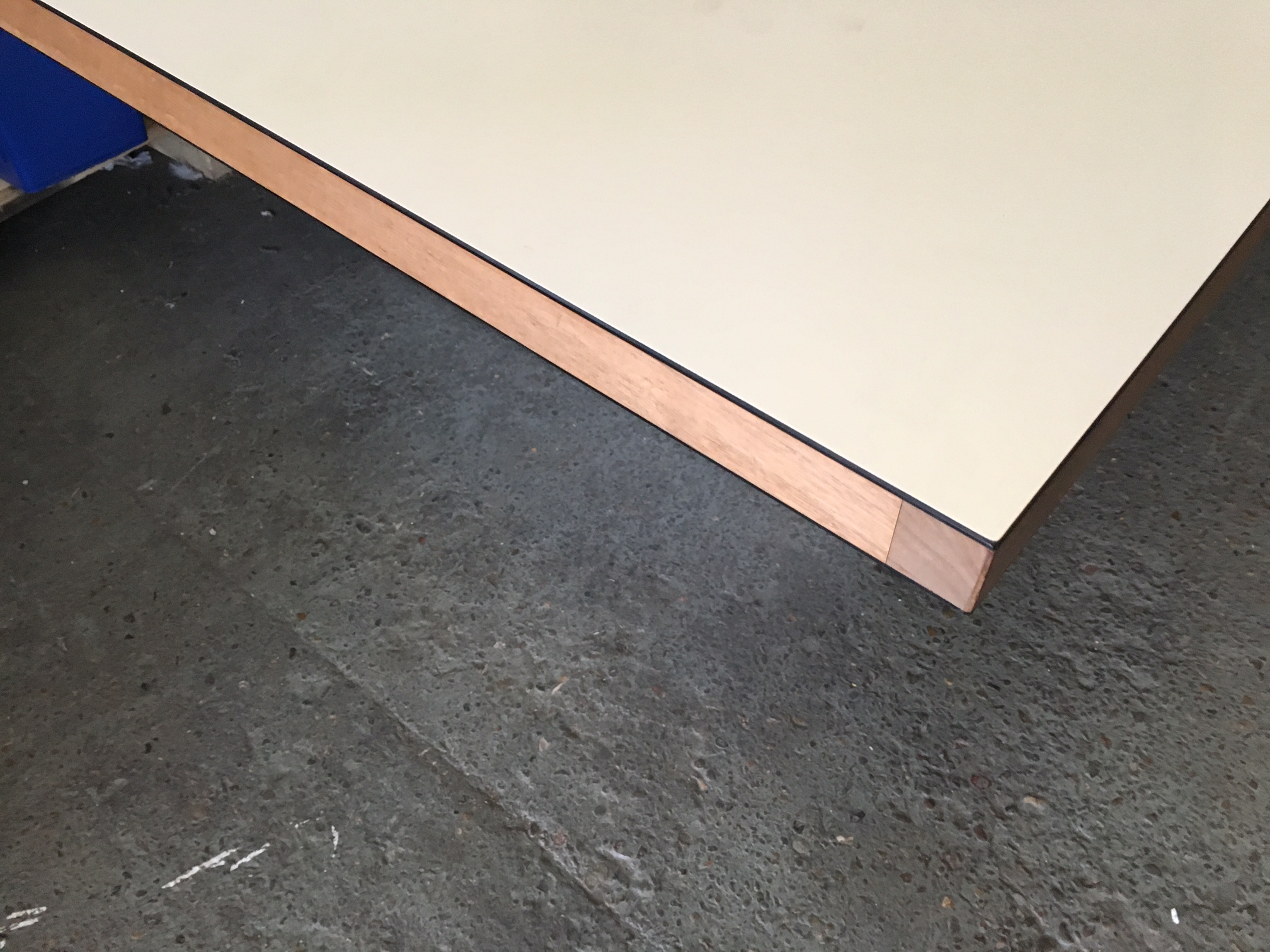 3500 x 1400mm white boardroom table with walnut inserts (CE)