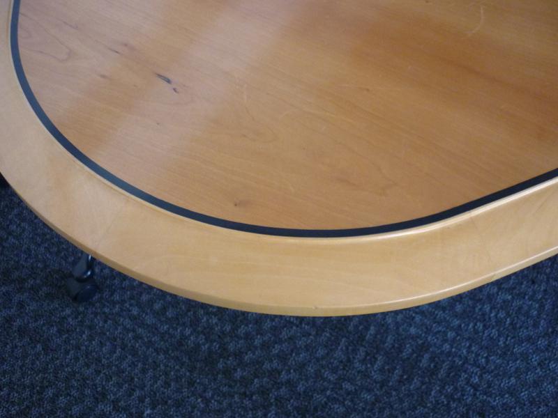 4300 x 1500mm cherry veneer elliptical boardroom table