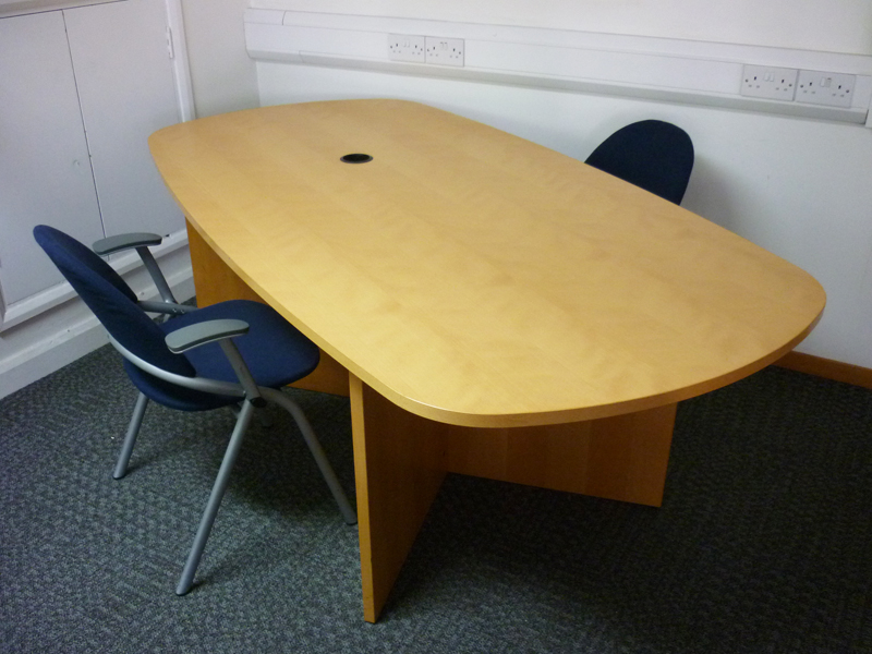 2050 x 1050/950mm Dencon beech veneer oval table