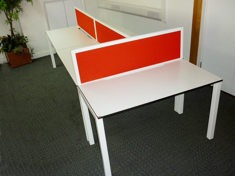 Techo Alfa 200 series 1200w x 600d mm compact white bench and singles desks