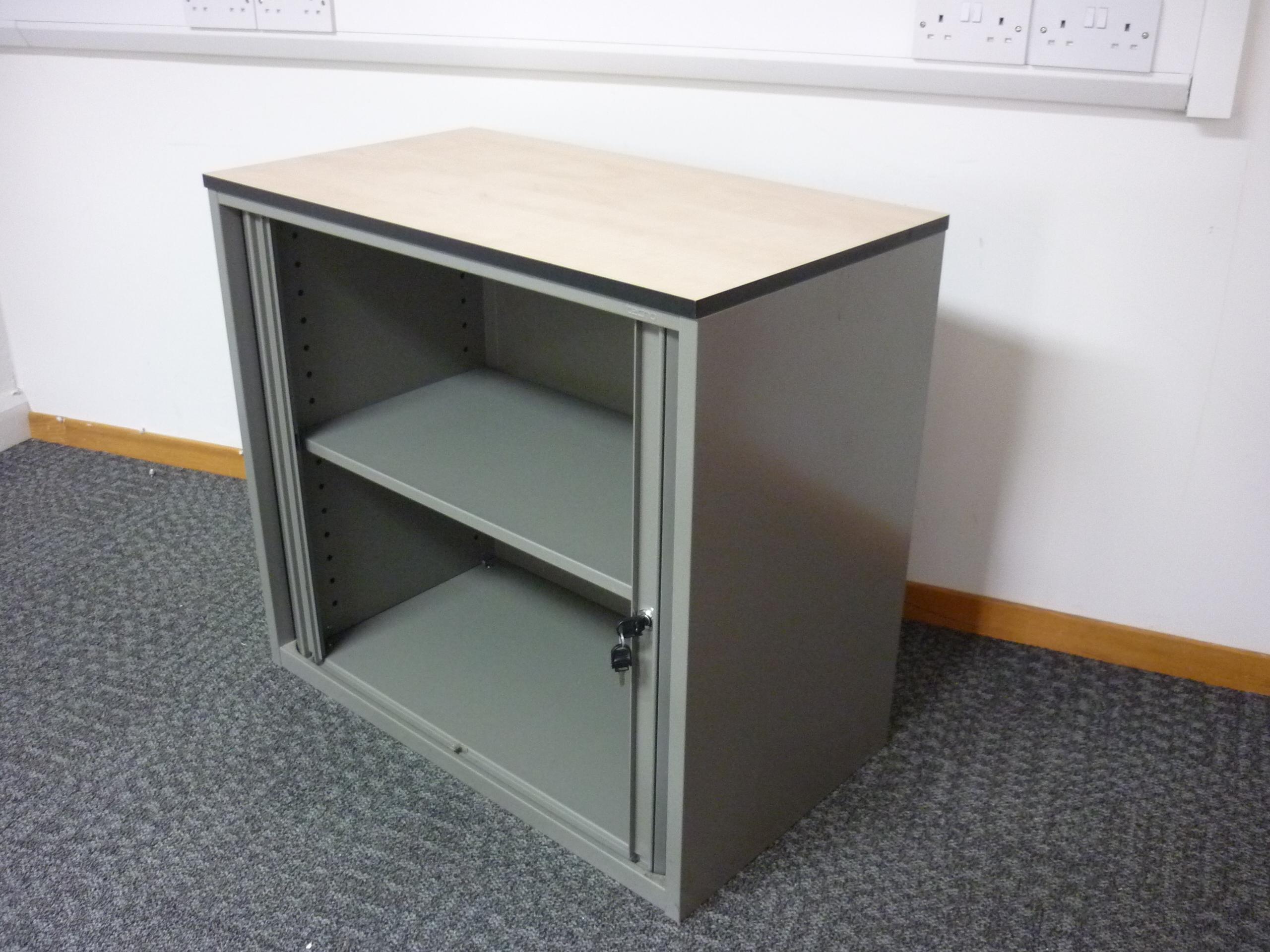 Desk high Techo silver/maple tambour cupboard