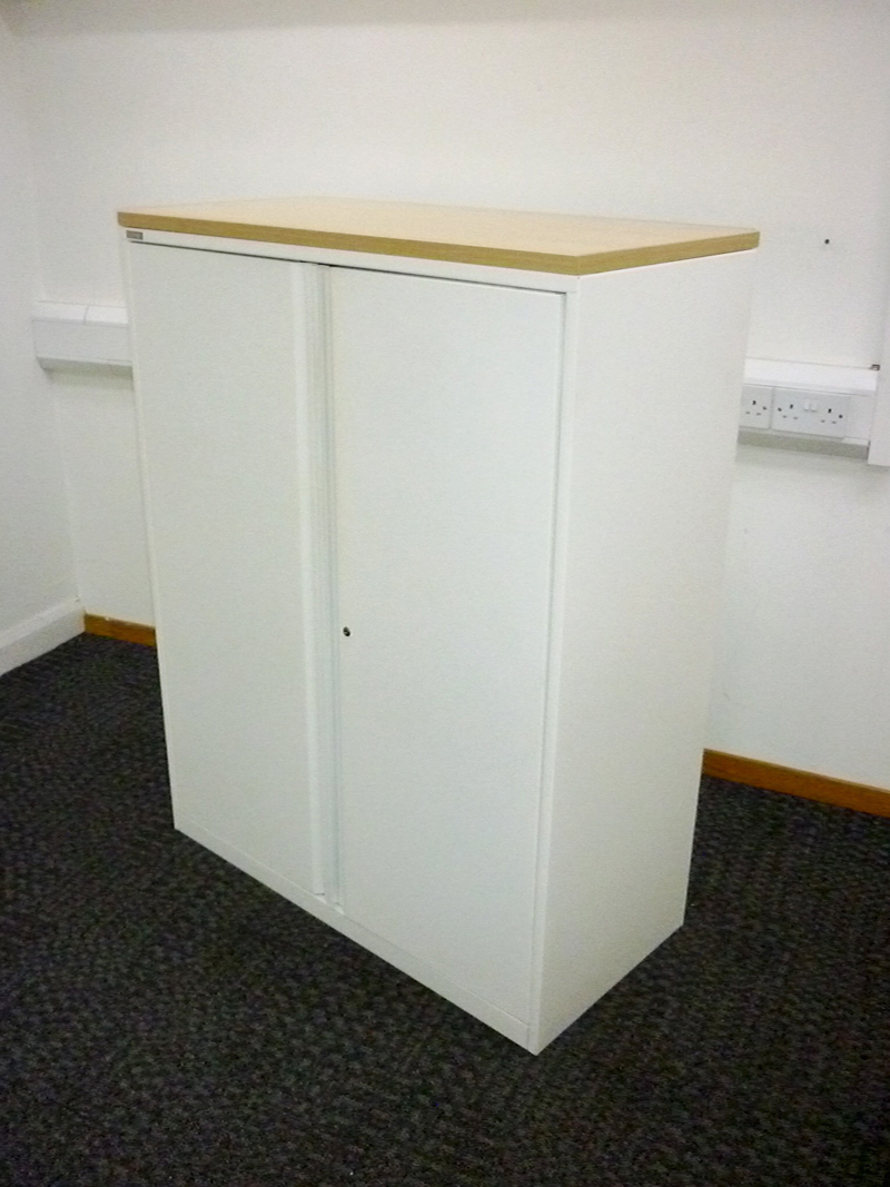 1300mm high white Triumph metal cupboards