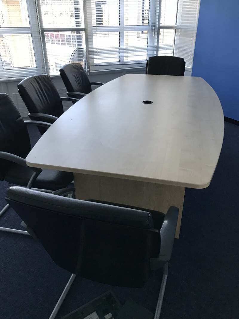 2400mm x 1200/900mm maple barrel shaped meeting table