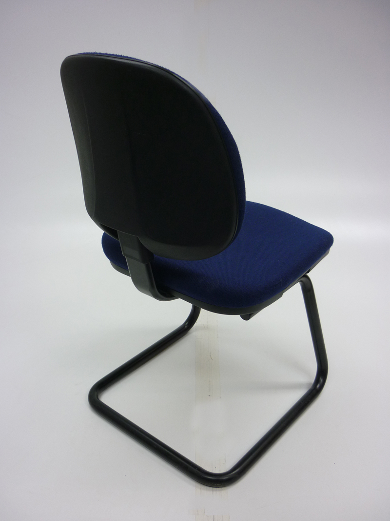 Dark blue cantilever meeting chairs