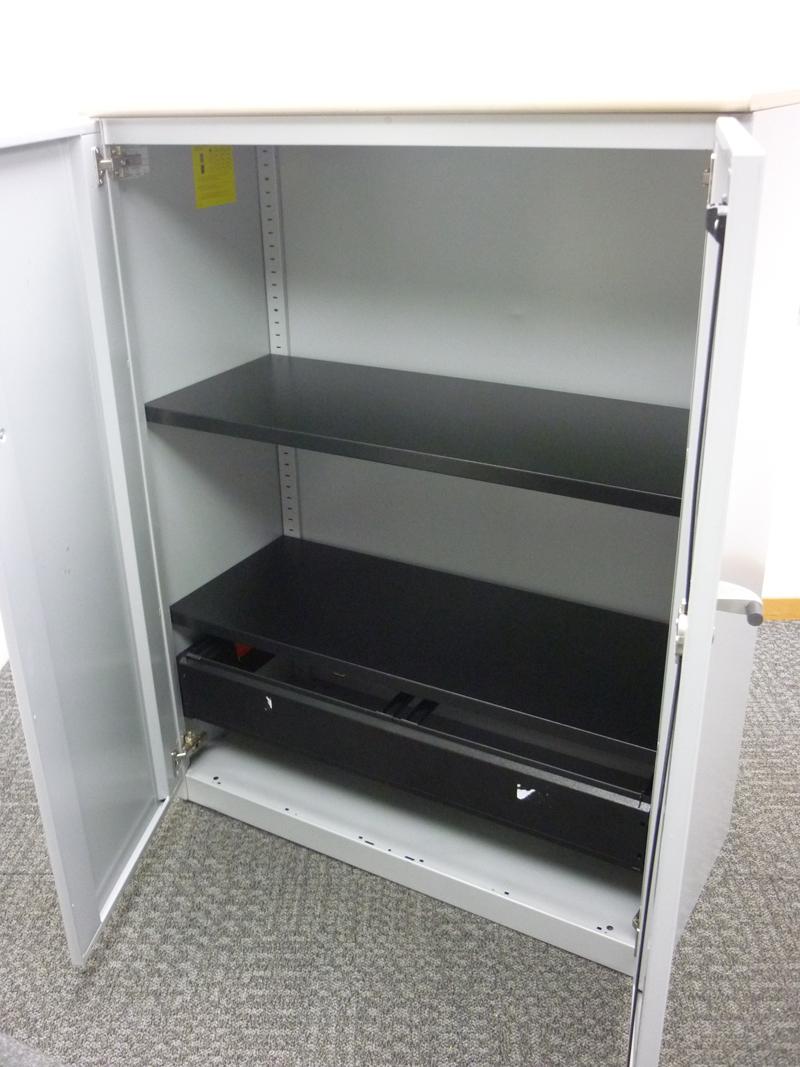 1325mm high Steelcase silver/maple metal cupboards