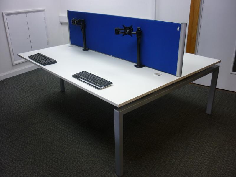 Large white bench desking