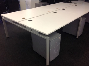 additional images for 1400w x 800d mm Senator white bench desks in 2, 4 or 6 person. Tops not perfect so price per person: