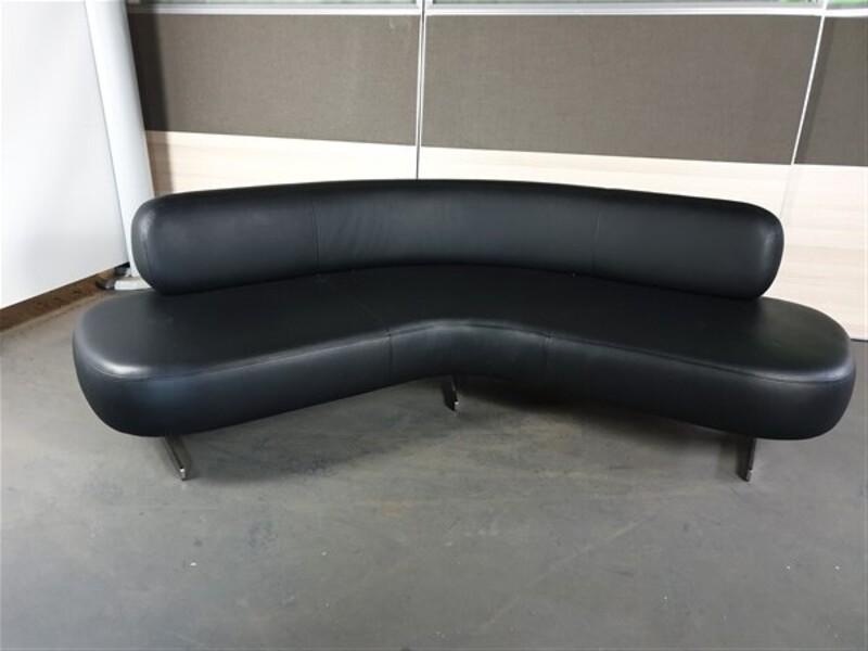 additional images for Tacchini Italia Black Leather 120 degree sofa
