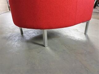 Red Fabric Tub Chair Chrome Legs
