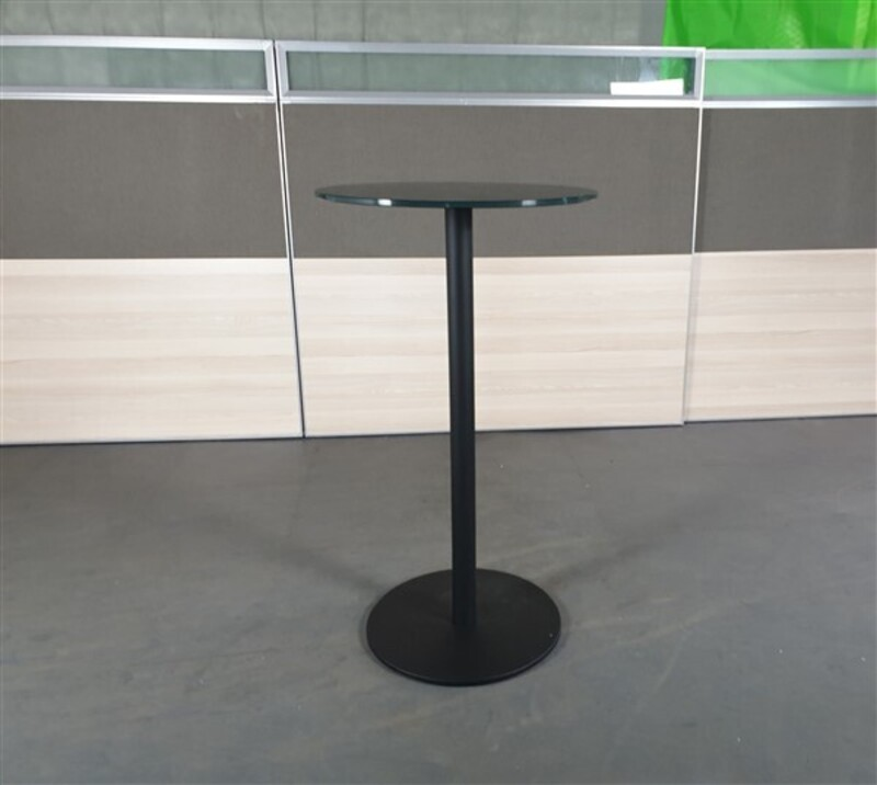 additional images for Black Glass Circular Poseur Table