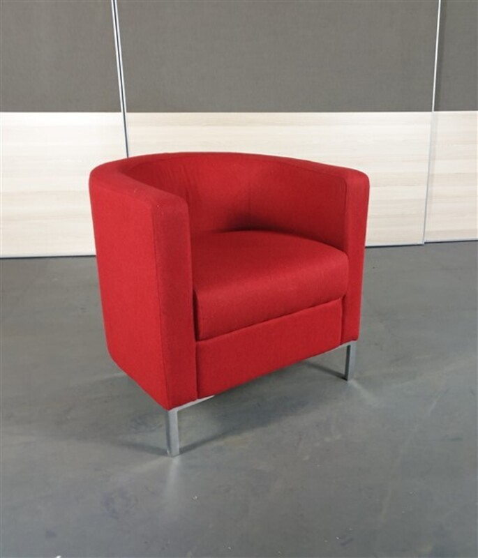 additional images for Red Fabric Tub Chair Chrome Legs