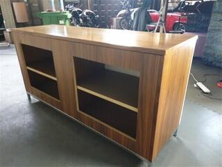 Walnut Surround 4 White Door Credenza