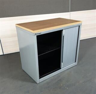 Haworth Metal Beech Top Sliding Door Cupboard