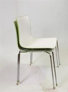 Matte White amp Shiny Green Stackable Chair