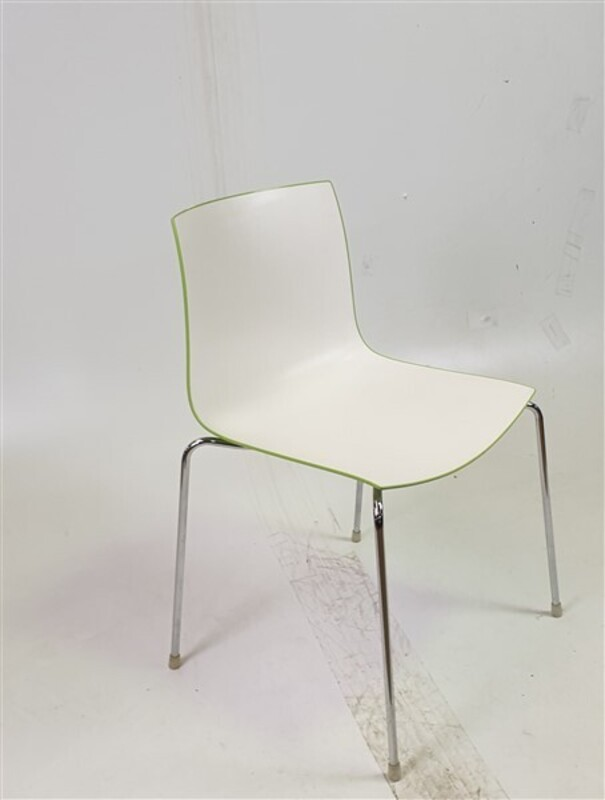 additional images for Matte White & Shiny Green Stackable Chair