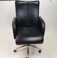 additional images for Black Leather Executive Chair Chrome Base