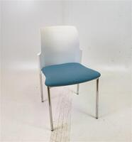 additional images for Elite White Back Blue Fabric Chair