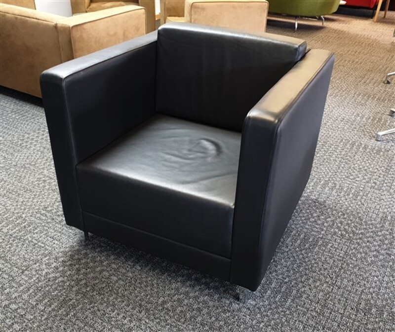additional images for Allermuir Black Leather Armchair