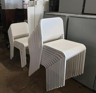 White stackable chairs