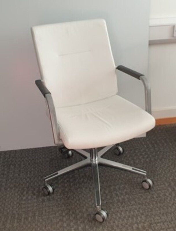 additional images for White leather connection chair