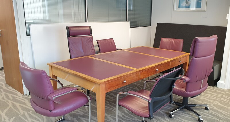additional images for Light cherry wood with wine leather inlay table
