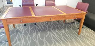 Light cherry wood with wine leather inlay table