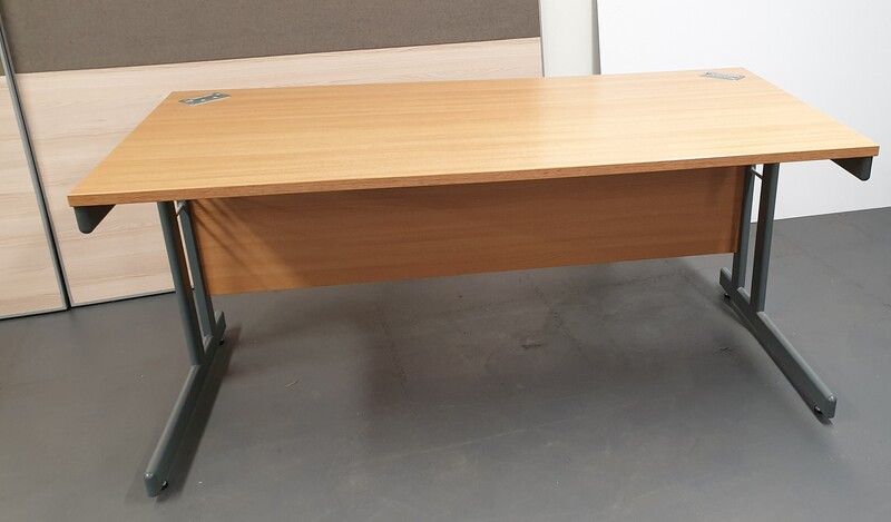 additional images for Oak desk with modesty panel